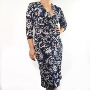 WHBM Paisley Print Fitted v neck long sleeve dress
